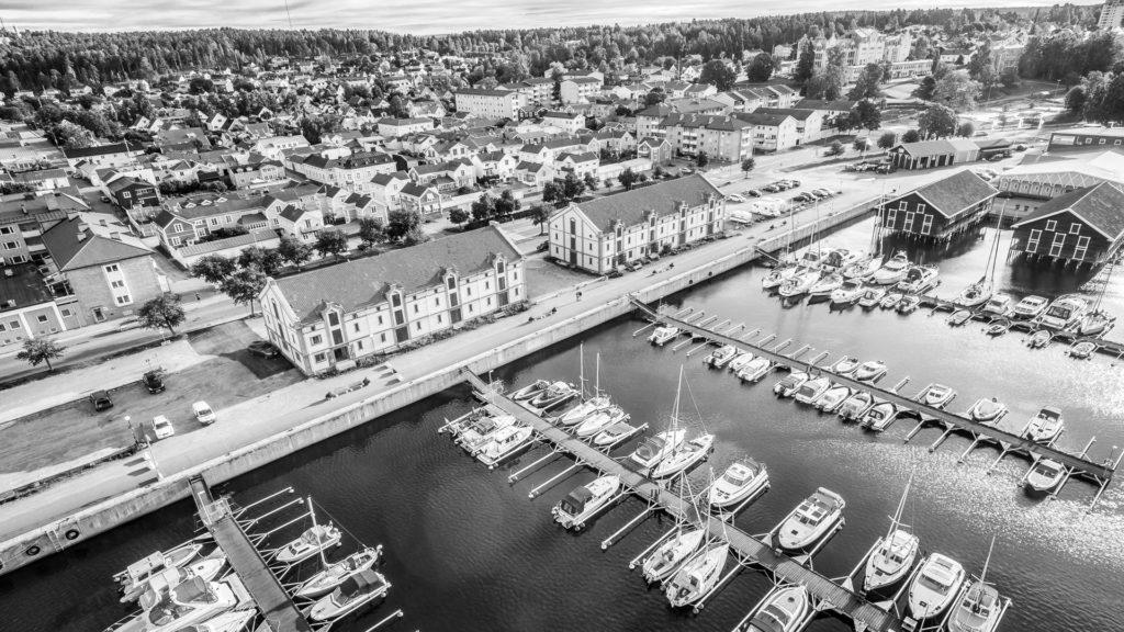 Hudik Flygfoto-Hamnen Hudiksvall Gula Hamnmagasinen